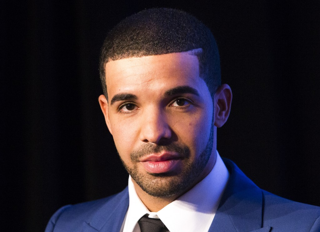 Drake looks on during an announcement that the Toronto Raptors will host the NBA All-Star game in Toronto