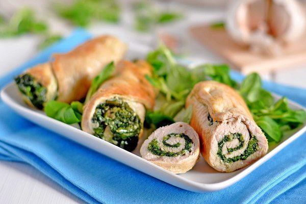 Involtini pollo e spinaci